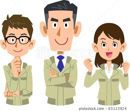 穿著工作服的三個男女的上半身 63123924