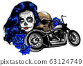Girl with skeleton make up hand drawn vector sketch. Santa muerte woman witch portrait stock illustration 63124749