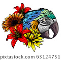 Bright parrots on a branch with tropical flowers 63124751