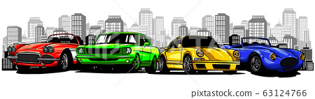 old racing car with grunge city background 63124766