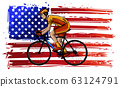 cyclist with american flag vector illustration design 63124791