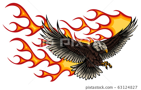 Flaming Eagle - vehicle graphic. Ready for vinyl cutting. . 63124827