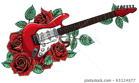 Electric guitar, roses and music notes. vector 63124877