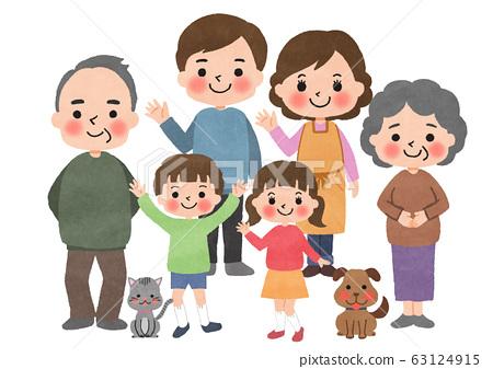 가족 / 집합 / 애완 동물 / 여섯 63124915