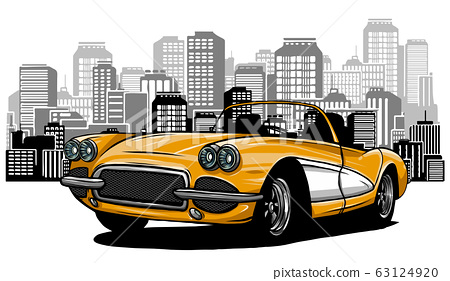 Flat vector cartoon style illustration of landscape street with electric cars, solar panels, wind turbines and mountain with green trees in background. 63124920