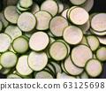 zucchini slice, full frame, fresh slice zucchini top view 63125698