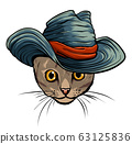 Vector funny British cat hipster in the gray hat, vector 63125836