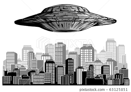 UFO in night sky above city with radiant beam. 63125851