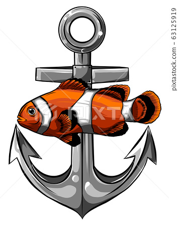 Vector illustration of a clownfish with anchor 63125919