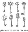 Ancient vintage keys with ornaments, sketch 63126836