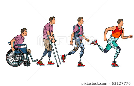 Evolution of rehabilitation. man leg prosthesis 63127776
