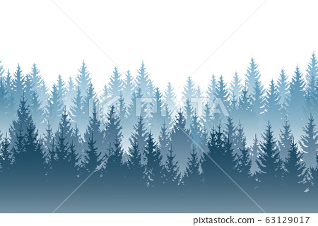 Vector misty forest landscape with detailed blue 63129017