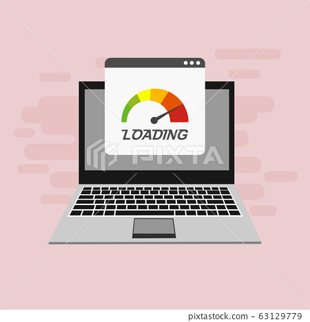Laptop With Speed Test On The Screen On Website Or Stock Illustration 63129779 Pixta