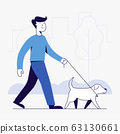 young man and dog walking in the park. 63130661