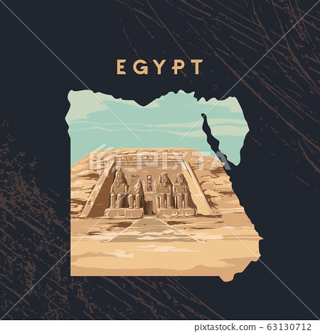 Vector illustration of the Great Sphinx in Giza inscribed on the map of Egypt with the pyramids of 63130712