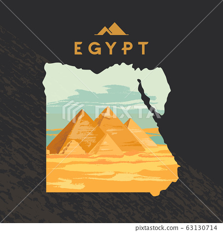 Vector illustration of the Great Sphinx in Giza inscribed on the map of Egypt with the pyramids of 63130714