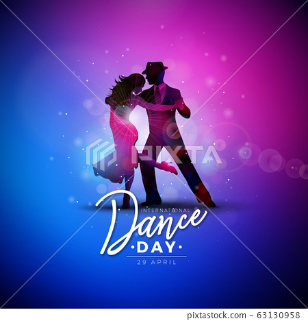 International Dance Day Vector Illustration with tango dancing couple on shiny colorful background. Design template for banner, flyer, invitation, brochure, poster or greeting card. 63130958