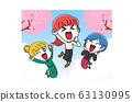 일러스트 소재 : 봄 여자 신 생활 3 인조 귀여운 63130995