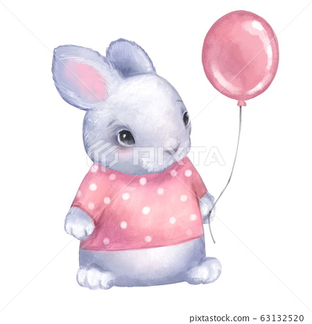 Cute Bunny with Pink Balloon 63132520