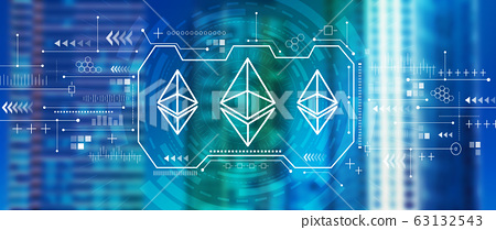Ethereum concept with downtown San Francisco skyline 63132543