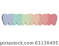 A row of teeth of multi colors or rainbow 63136405