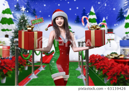 In the snowy landscape, a young Japanese laughs in front of a snowman wearing a Christmas costume and holding a box of gifts in both hands 63139426
