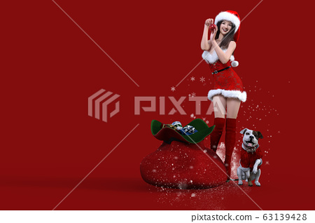 Smiling Japanese young woman and dog wearing Christmas costumes and posing next to gift bag 63139428