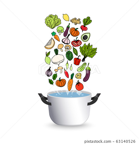 Cooking concept. On the stove, boil the soup. cooking food vector illustration  63140526
