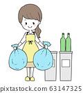 女人扔掉垃圾 63147325