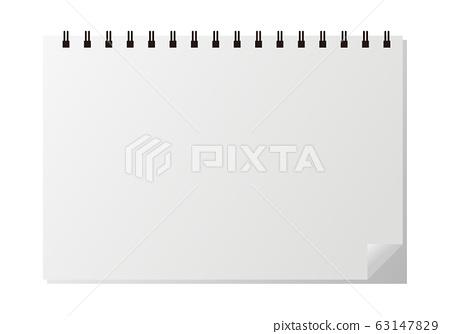 環形筆記本水平位置純色的插圖 63147829