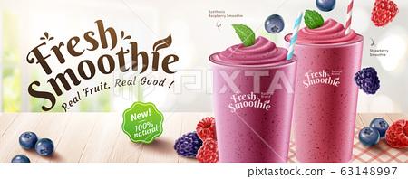 Fresh mix berries smoothie banner 63148997