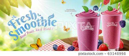Fresh mix berries smoothie banner 63148998