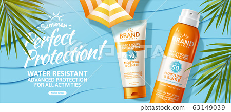 Summer sunscreen spray and cream ad 63149039