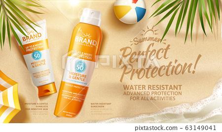 Summer sunscreen spray and cream ad 63149041