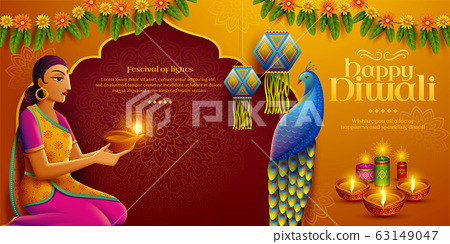 Diwali design with indian woman 63149047