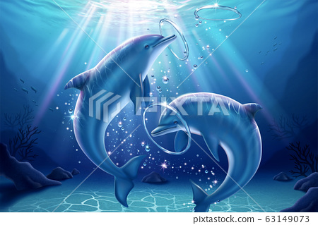 Lovely dolphin blowing bubble rings 63149073