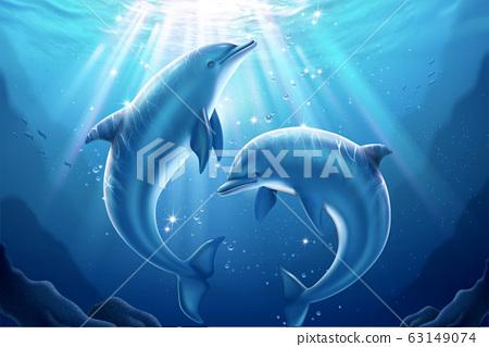 Lovely dolphin in underwater world 63149074