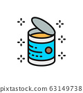 Opened can, food tins flat color line icon. 63149738