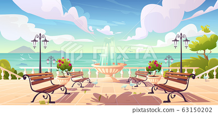 Summer seafront with fountain and benches 63150202