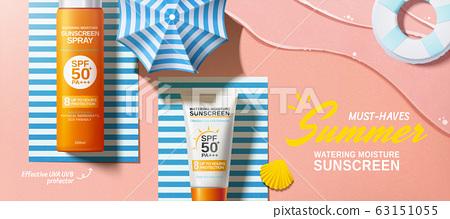 Flat lay sunscreen banner ads 63151055