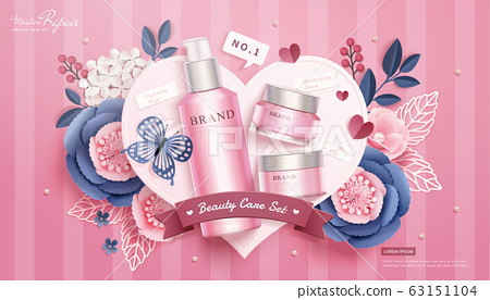 Pink cosmetic skincare set ads 63151104