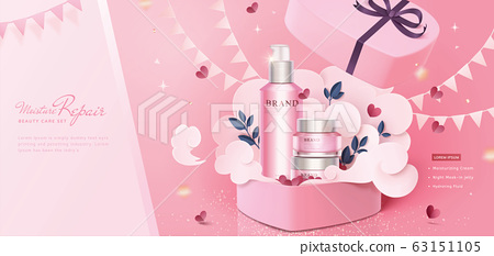 Pink cosmetic skincare set 63151105