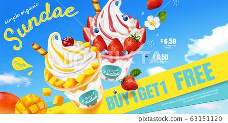 Mango and strawberry sundae ads 63151120