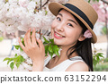 beautiful girl and cherry blossom 63152294