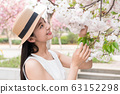 beautiful girl and cherry blossom 63152298