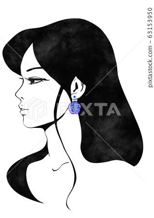 Woman wearing flower pattern earrings 63153950