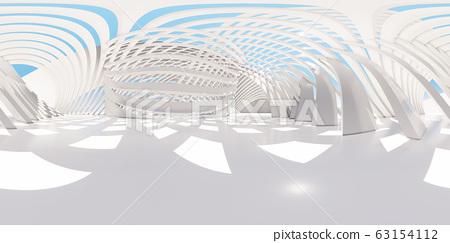 鲜艳细致的全景景观图:白色抽象圆环(3D CG 渲染数位插图) 63154112