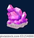 Crystal gem, pink magic rhinestone isolated icon 63154666