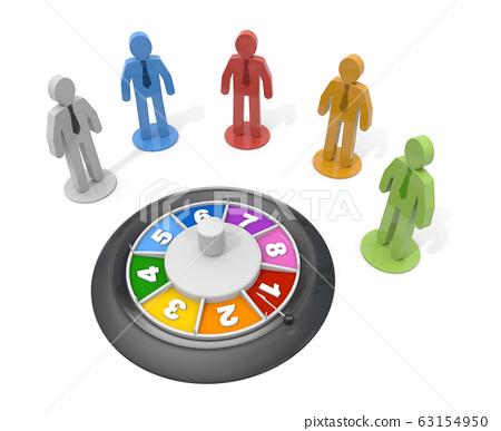 商人片斷和輪盤賭。 3D渲染 63154950