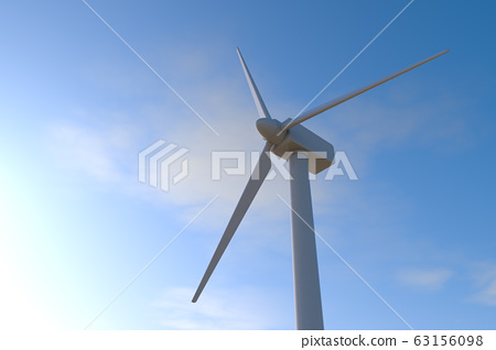 Wind turbines and blue sky background. 3D rendering 63156098